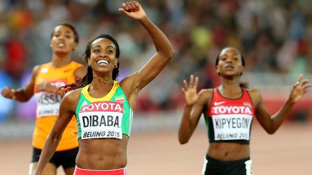 Genzebe Dibaba celebrates taking gold in the 1500m in Beijing