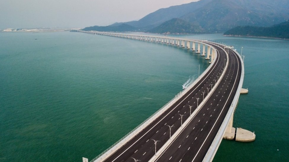 World's longest sea bridge: Aerial shots over the Hong Kong-Zhuhai crossing