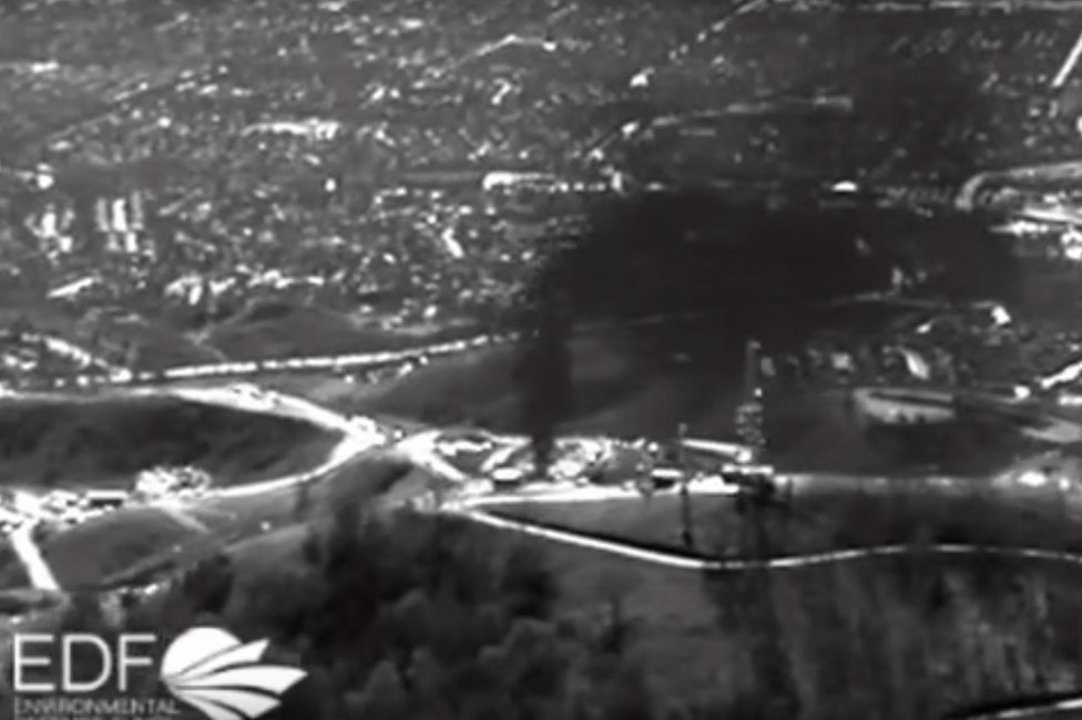 Infrared imagery of the methane leak shows a black cloud coming from the ground