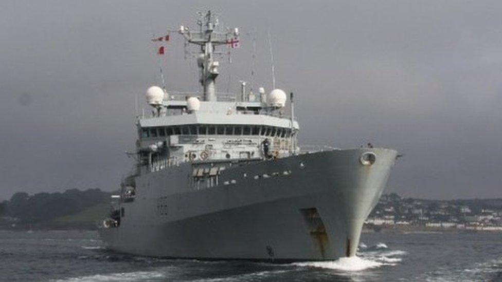 HMS Enterprise leaves Falmouth. Pic: Royal Navy
