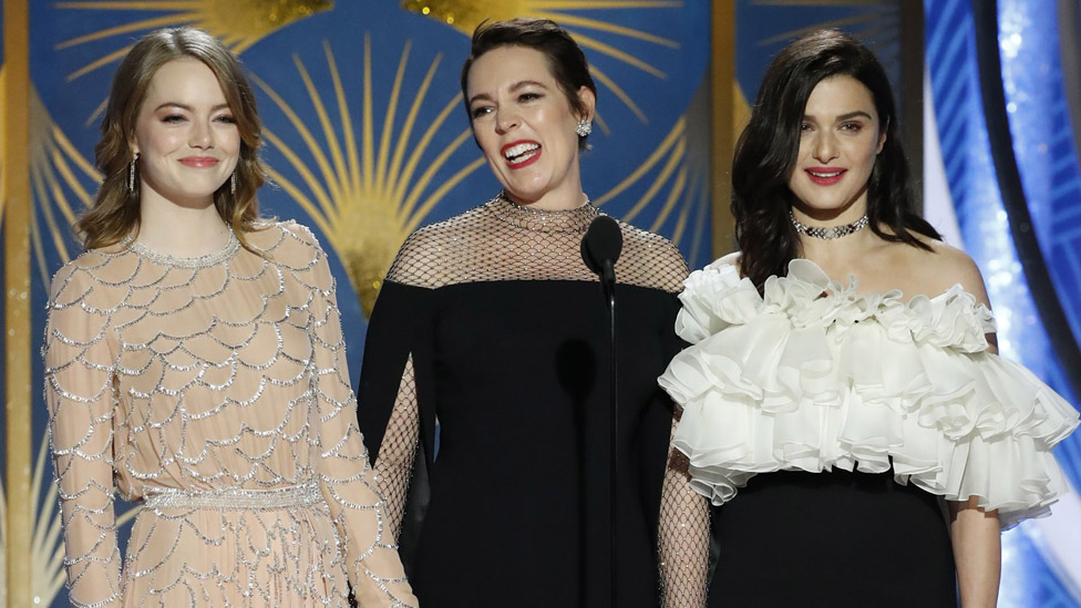 Left-right: Emma Stone, Olivia Colman and Rachel Weisz