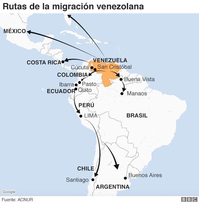 Mapa con la ruta que toman los venezolanos.