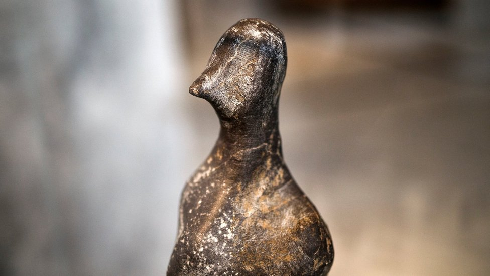 A 7,000-year-old Neolithic statuette on temporary show at the National Archaeological Museum in Athens, Greece, on 10 February 2017