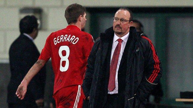 Steven Gerrard and Rafa Benitez