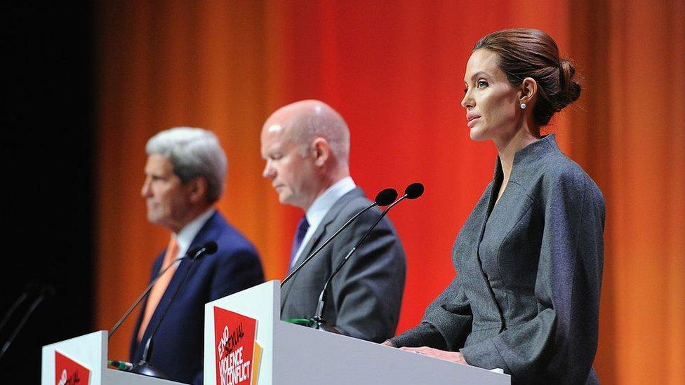 John Kerry, William Hague and Angelina Jolie