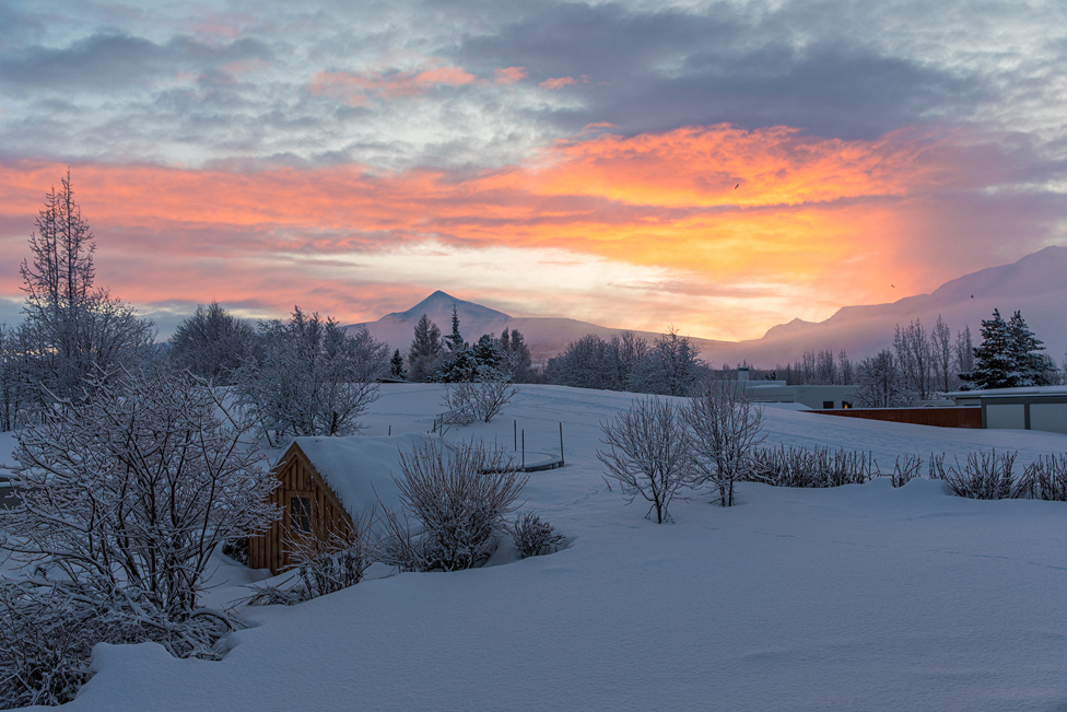 Snowy scene with low sunlight illuminating the clouds