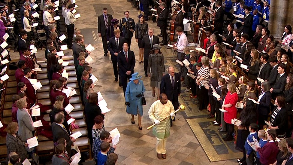 The Royal Family process through Westminster Abbey