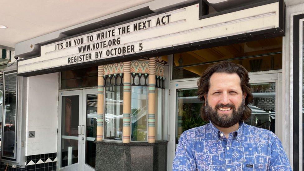 Michel Hausmann uses his Miami theatre signage to encourage people to vote