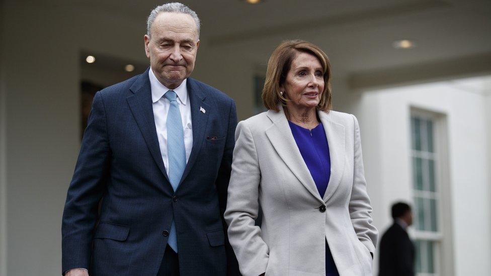 رئيسة مجلس النواب الأمريكي نانسي بيلوسي وزعيم الأقلية الديمقراطية في مجلس الشيوخ تشاك شومر