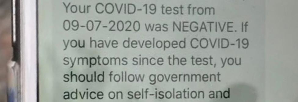 Poruka u kojoj piše da je test na Kovid-19 negativan