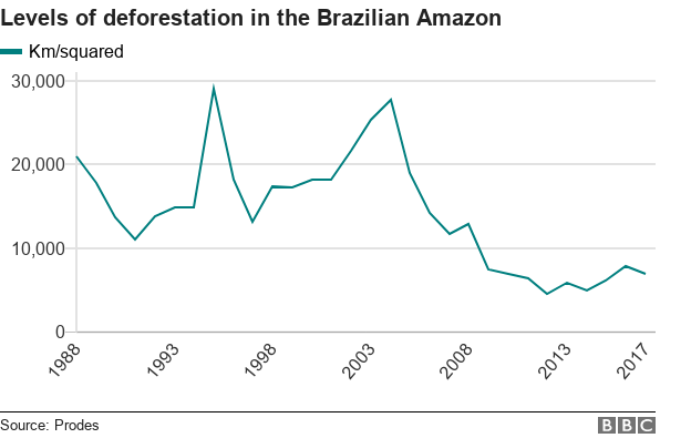 Chart showing deforestation of the Amazon over time