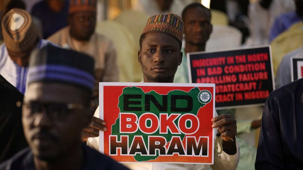 A man in Nigeria protesting against Boko Haram