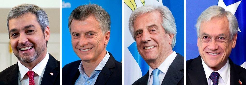 Los presidentes Mario Abdo Benítez (Paraguay), Muricio Macri (Argentina), Tabaré Vázquez (Uruguay) y Sebastián Piñera (Chile).