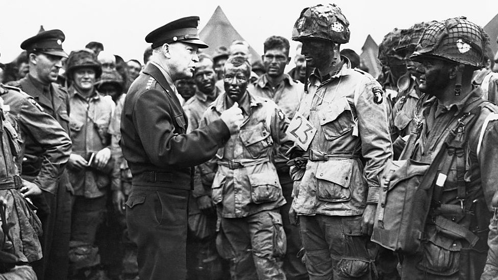 General Dwight Eisenhower (1890-1969) talks to his troops around the time of the D-Day invasion of France in 1944.