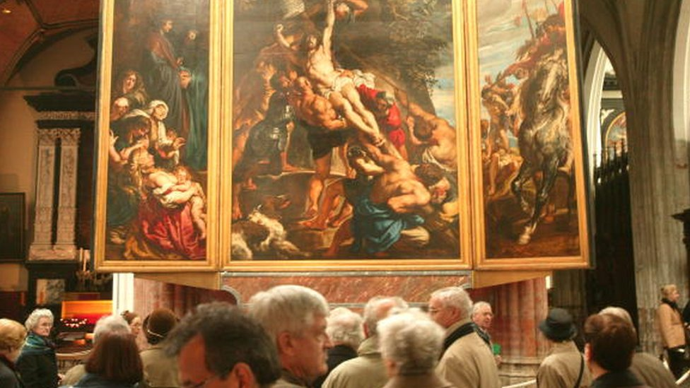 A Rubens painting on display in a Flanders museum
