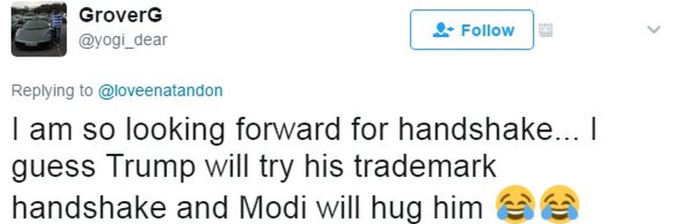 I am so looking forward for handshake... I guess Trump will try his trademark handshake and Modi will hug him 😂😂