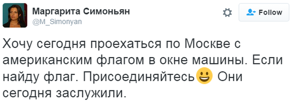 "A tweet in Russian reads: ""I want to drive through Moscow with an American flag in the window. Come and join me. Today, they earned it."""