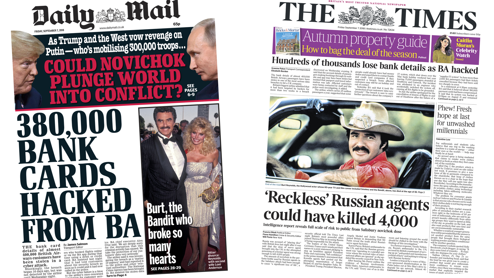 Daily Mail and Times front page - 07/09/18