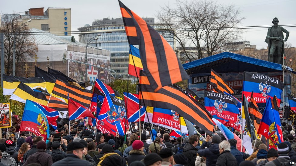 Russian nationalist rally backing Donetsk separatists - Moscow, Oct 2014