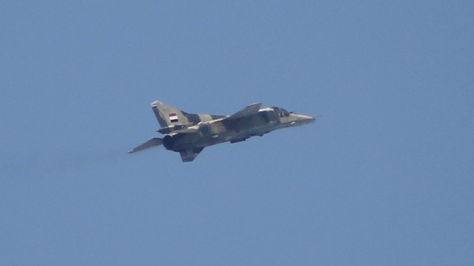 File photo of a Syrian MiG-23, the type identified by Turkey's prime minister. This photo was taken in Ayn Tarma, east of Damascus, on 25 February 2016.
