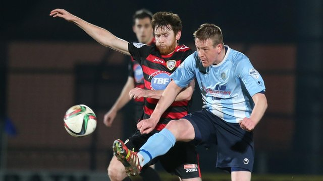 Action from Ballymena United against Coleraine