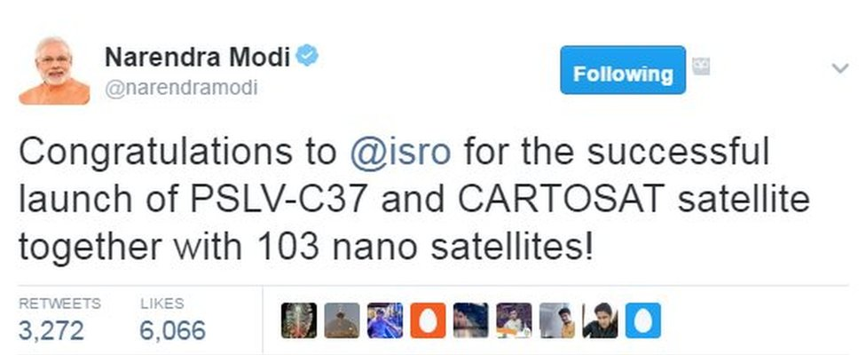 Congratulations to @isro for the successful launch of PSLV-C37 and CARTOSAT satellite together with 103 nano satellites!