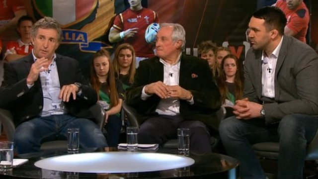 Scrum V pundits Jonathan Davies, Sir Gareth Edwards and Jonathan Thomas