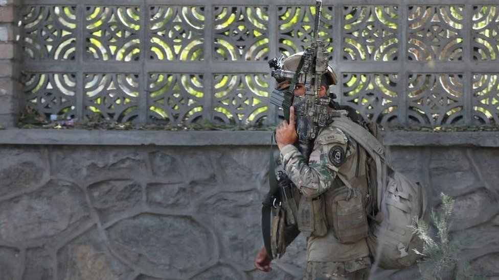 Afghan security forces at the university