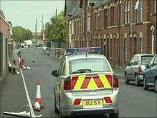 Three children were after a bomb exploded in a bin in Lurgan
