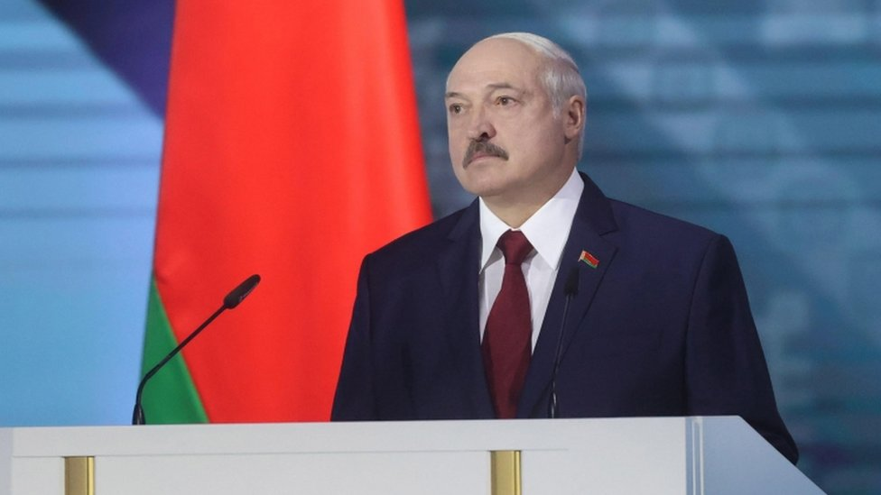 Alexander Lukashenko speaks in a televised address to the nation