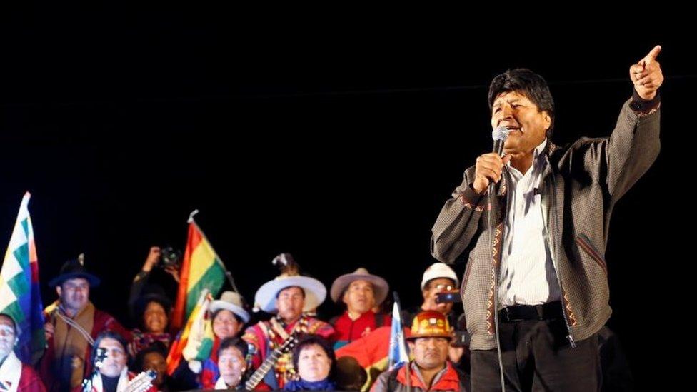 Evo Morales habla en un mitin
