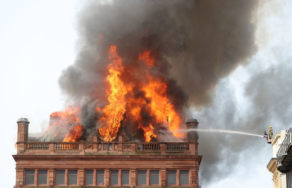 Flames at the top of the Bank Buildings in Belfast city centre
