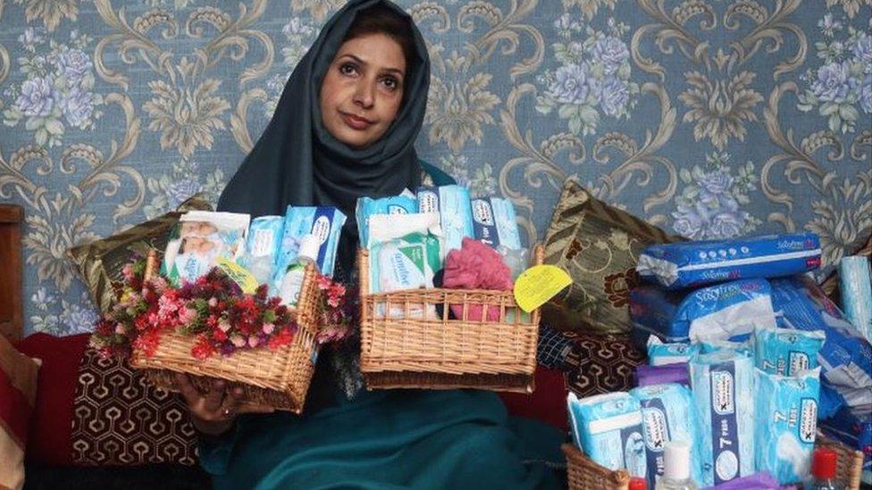 Irfana with her sanitary kit