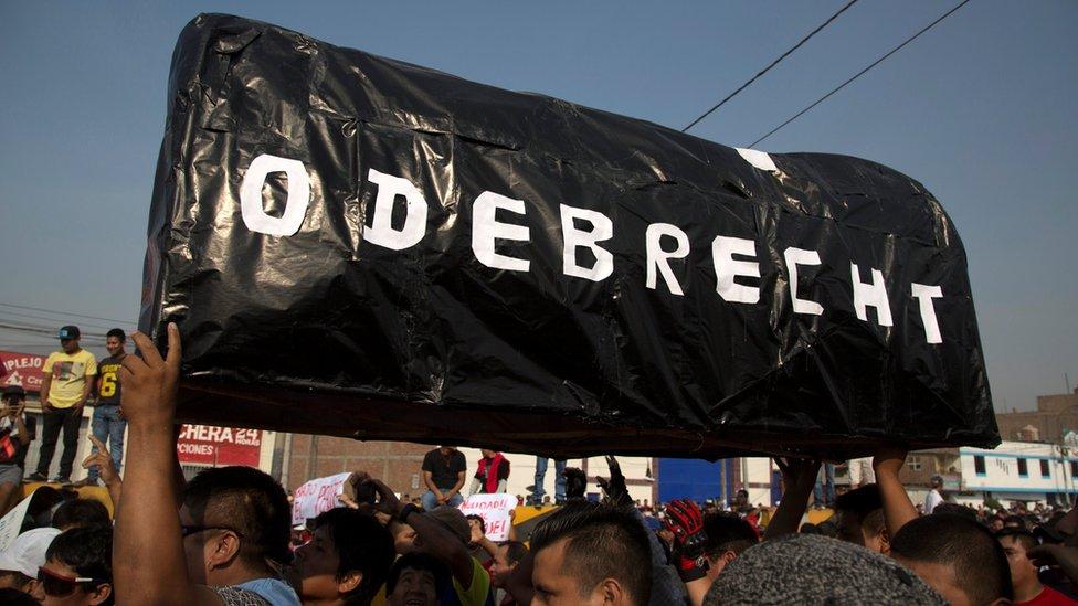 Protesta contra Odebrecht en Lima, Perú