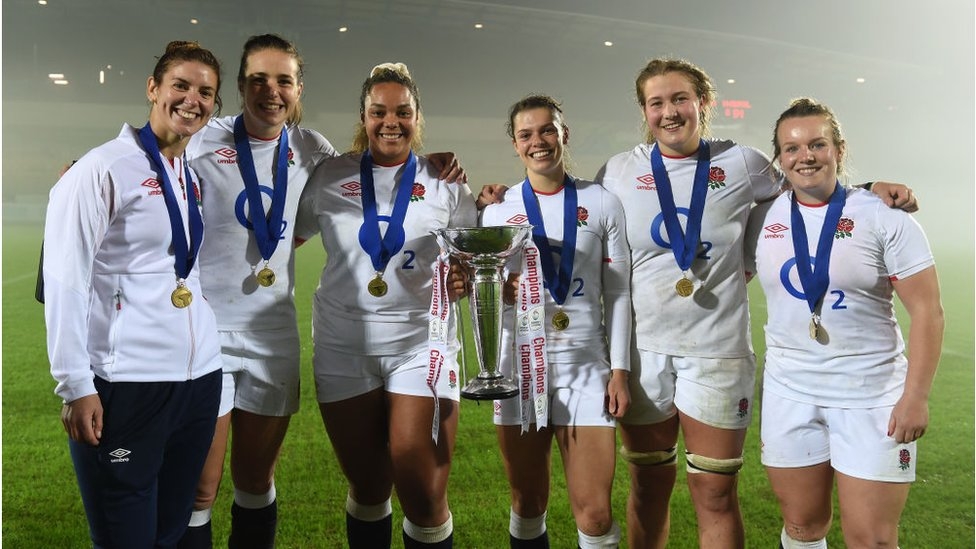 England celebrate with the Six Nations Trophy in November.