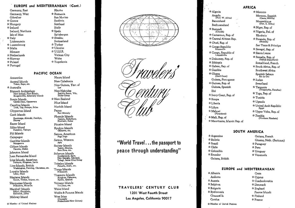 A TCC country list from November 1965