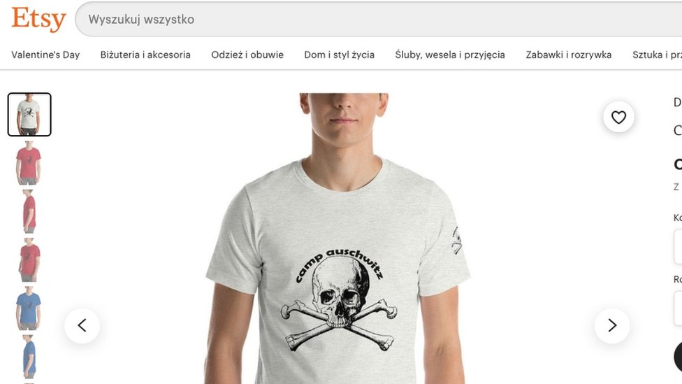 The T-shirt's listing on Etsy