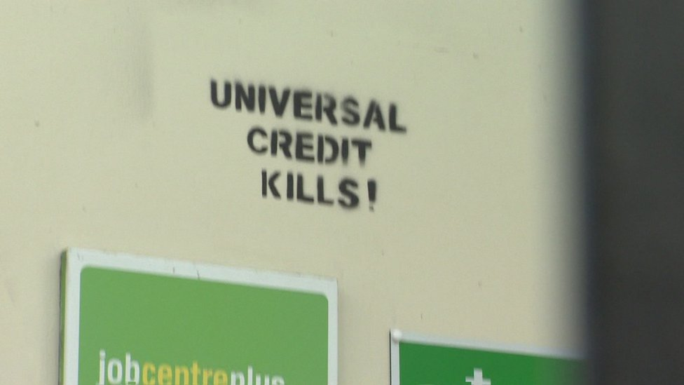 Graffiti outside Liverpool job centre