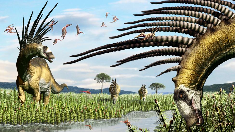 Ilustración de dinosaurios Bajadasaurus pronuspinax