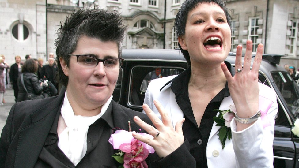 In 2005, Grainne Close and Shannon Sickles were the first lesbian couple in the UK to celebrate a civil partnership