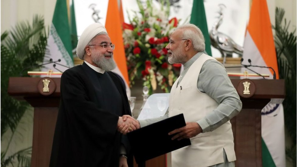 Iran's President Hassan Rouhani with Indian Prime Minister Narendra Modi