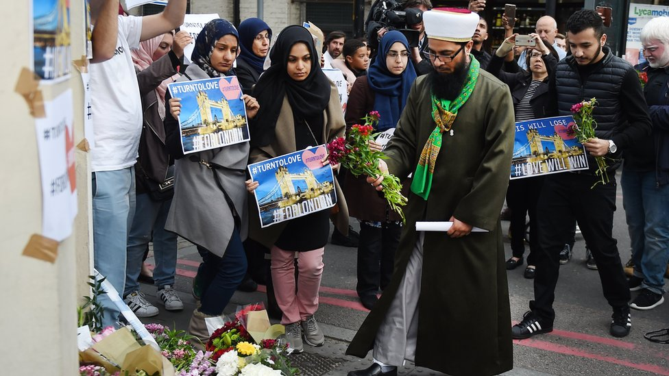 Members of the Muslim community paid their respects to the victims with tributes near London Bridge