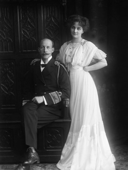 An official portrait of Marie Bonaparte and her husband, Prince George of Greece and Denmark.