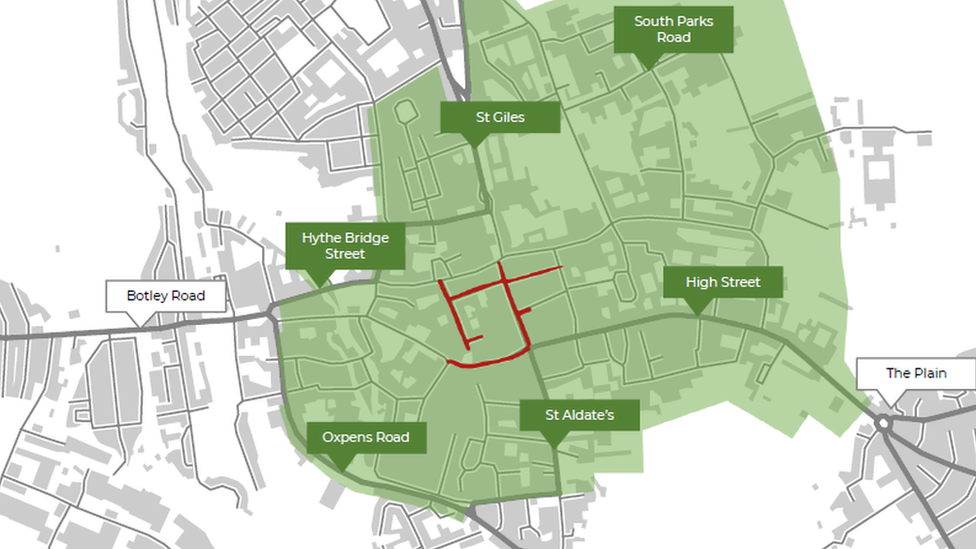 A map of Oxford's proposed Green Zone