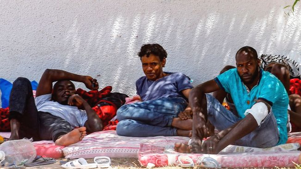African migrants from the Tajoura Detention Centre in Libya in July 2019