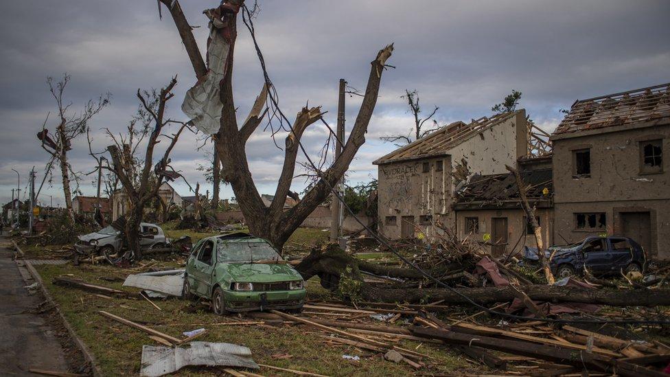 A view of damage after a tornado hit in Mikulcice, Czech Republic, 25 June 2021.