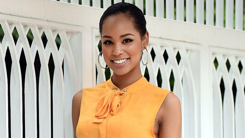 Miss Japan Ariana Miyamoto poses during an exclusive interview with AFP in Tokyo on May 7, 2015.