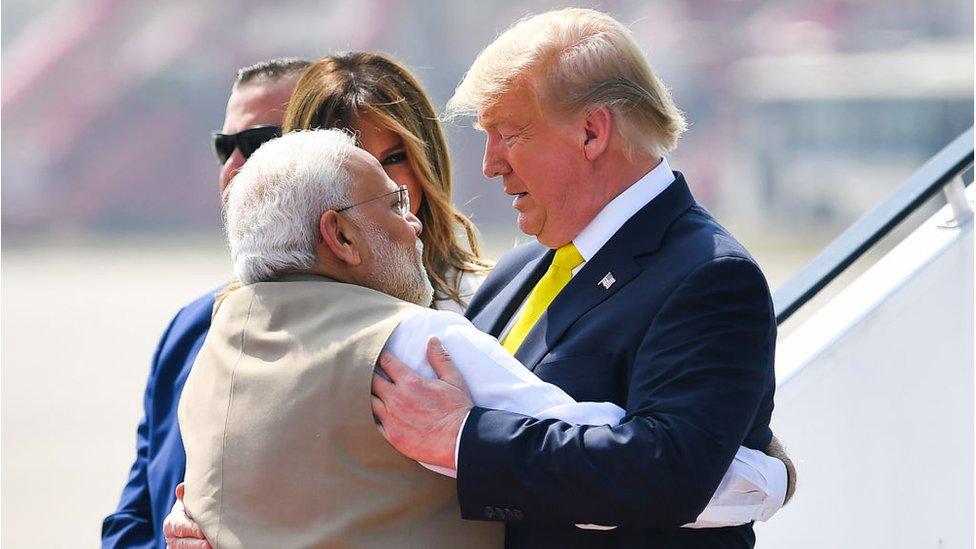 Narendra Modi, Donald Trump and Melania Trump
