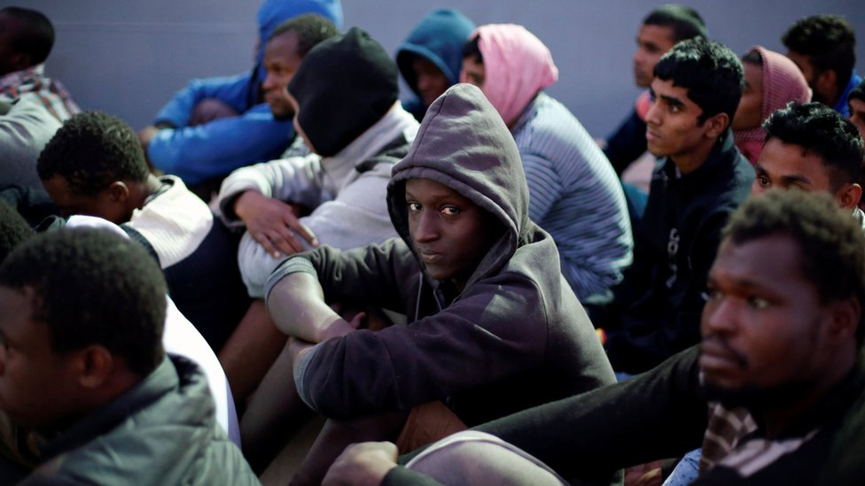 Migrants are returned to Libya after being intercepted by the Libyan navy, in Tripoli, Libya 4 November 2017