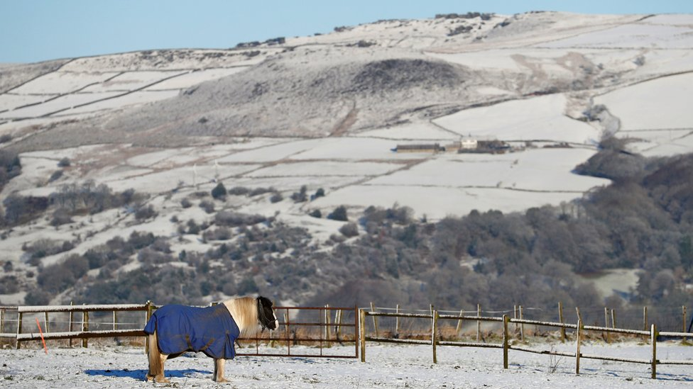 Snow covered fields in Todmorden, West Yorkshire